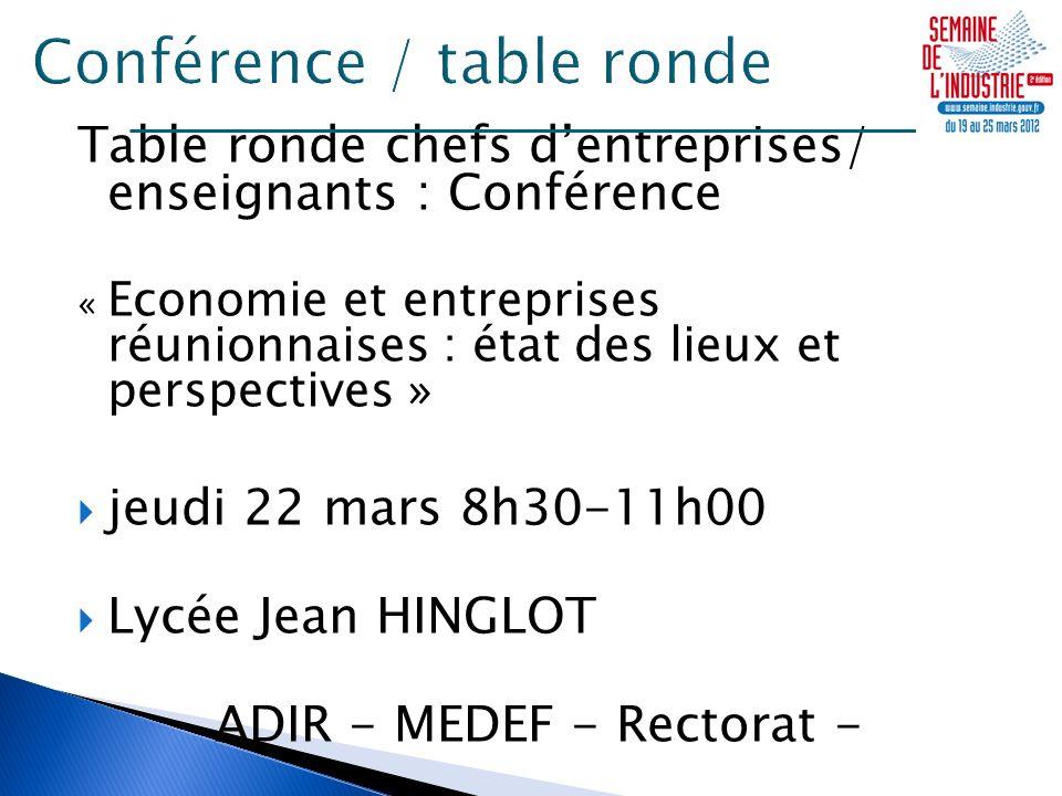 Table ronde chefs dentreprises/ enseignants : Conférence « Economie et entreprises réunionnaises : état des lieux et perspectives » jeudi 22 mars 8h30-11h00 Lycée Jean HINGLOT ADIR - MEDEF - Rectorat -