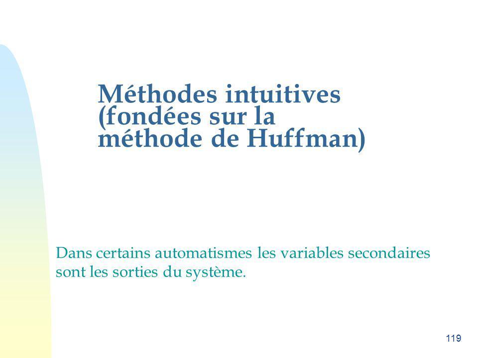 119 Méthodes intuitives (fondées sur la méthode de Huffman) Dans certains automatismes les variables secondaires sont les sorties du système.
