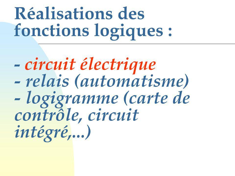 Réalisations des fonctions logiques : - circuit électrique - relais (automatisme) - logigramme (carte de contrôle, circuit intégré,...)