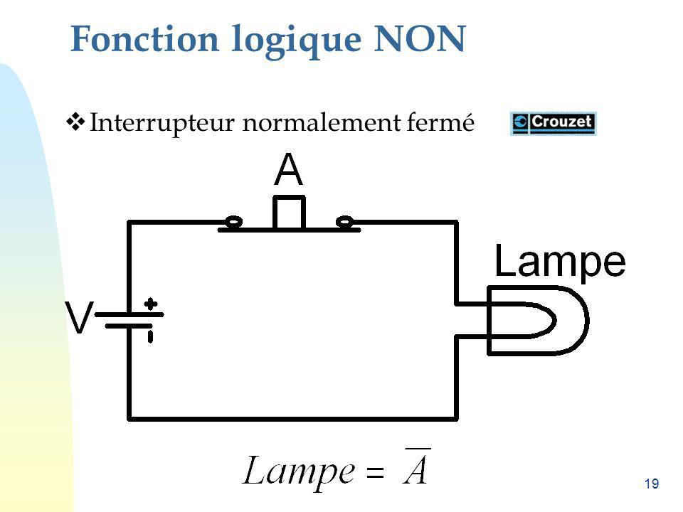 19 Fonction logique NON Interrupteur normalement fermé