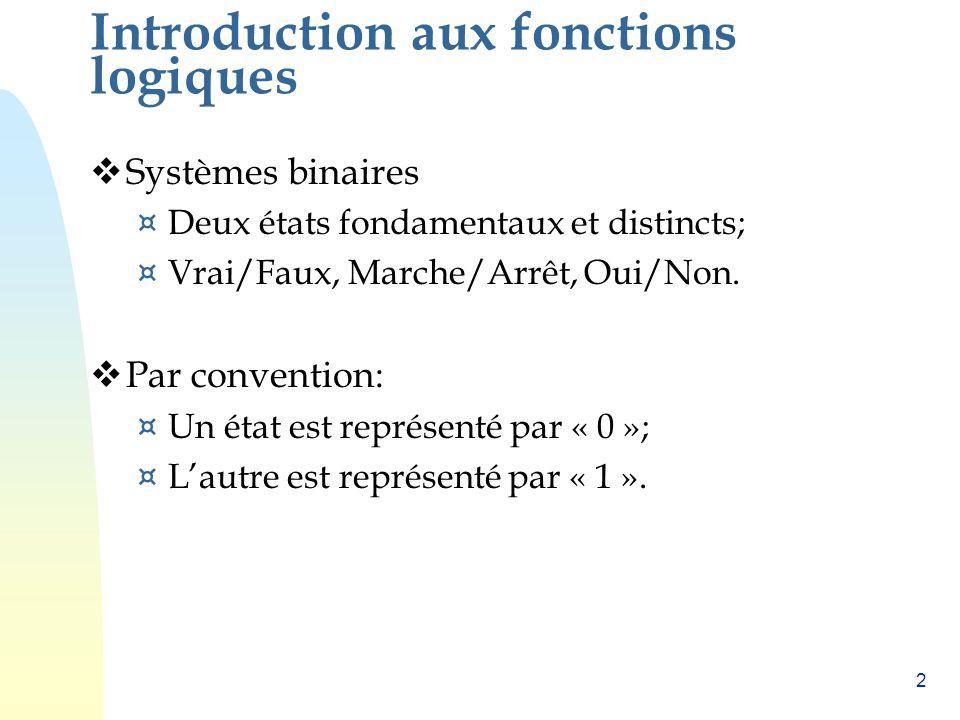 2 Introduction aux fonctions logiques Systèmes binaires ¤ Deux états fondamentaux et distincts; ¤ Vrai/Faux, Marche/Arrêt, Oui/Non. Par convention: ¤