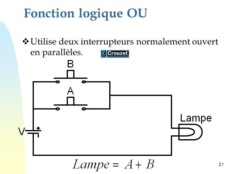 21 Fonction logique OU Utilise deux interrupteurs normalement ouvert en parallèles.