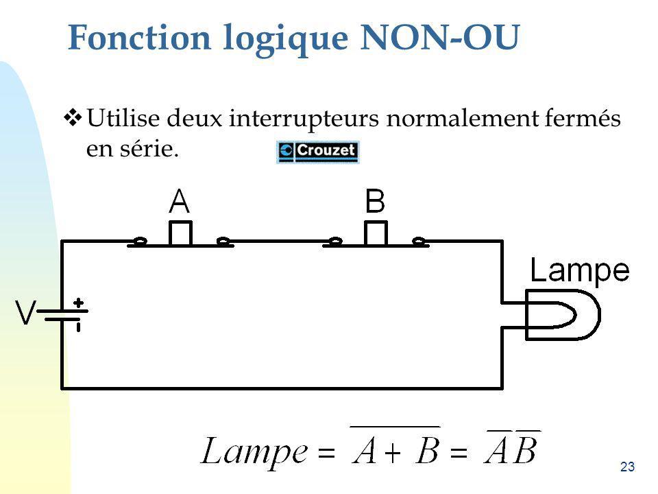 23 Fonction logique NON-OU Utilise deux interrupteurs normalement fermés en série.