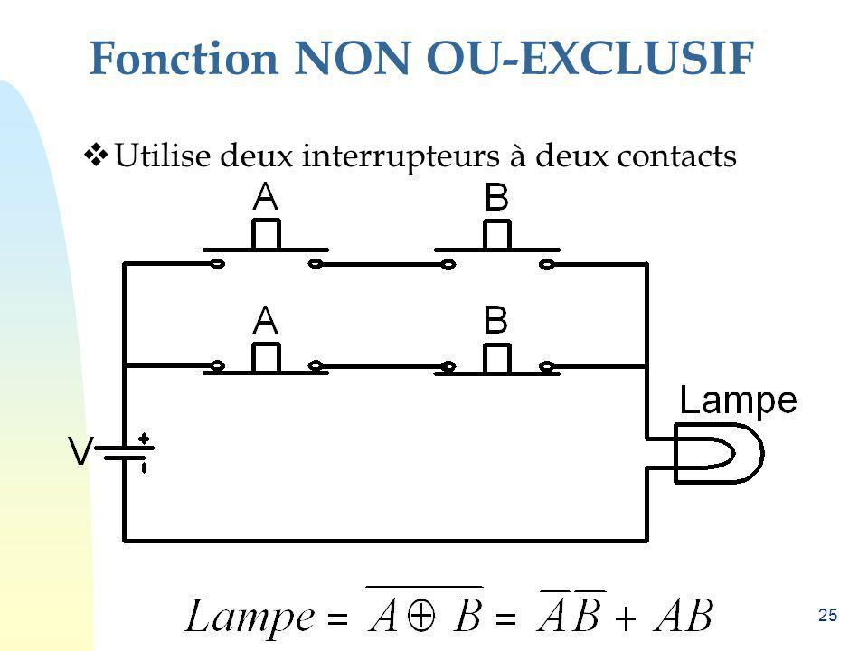 25 Fonction NON OU-EXCLUSIF Utilise deux interrupteurs à deux contacts