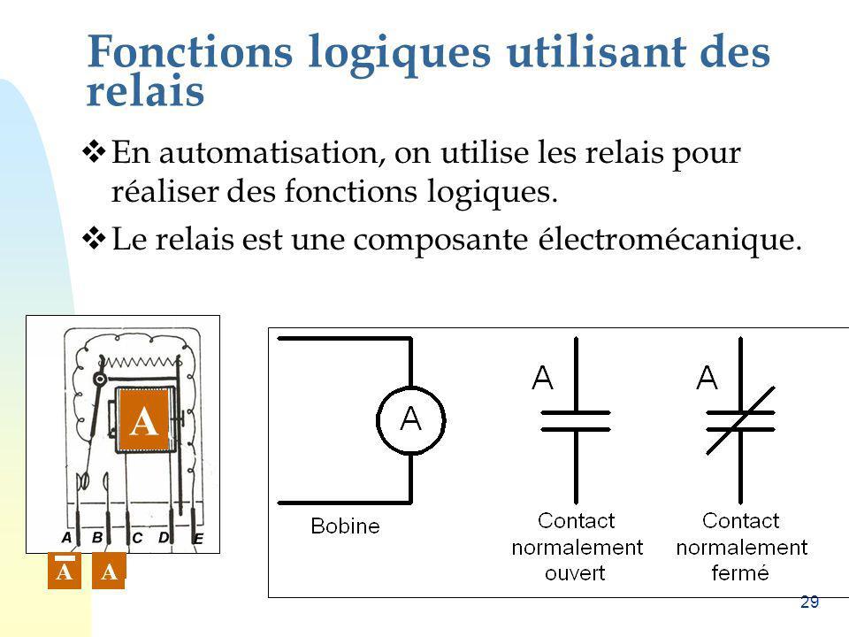 29 Fonctions logiques utilisant des relais En automatisation, on utilise les relais pour réaliser des fonctions logiques. Le relais est une composante