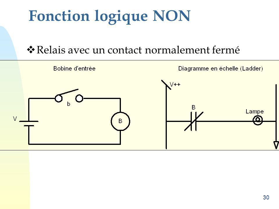 30 Fonction logique NON Relais avec un contact normalement fermé