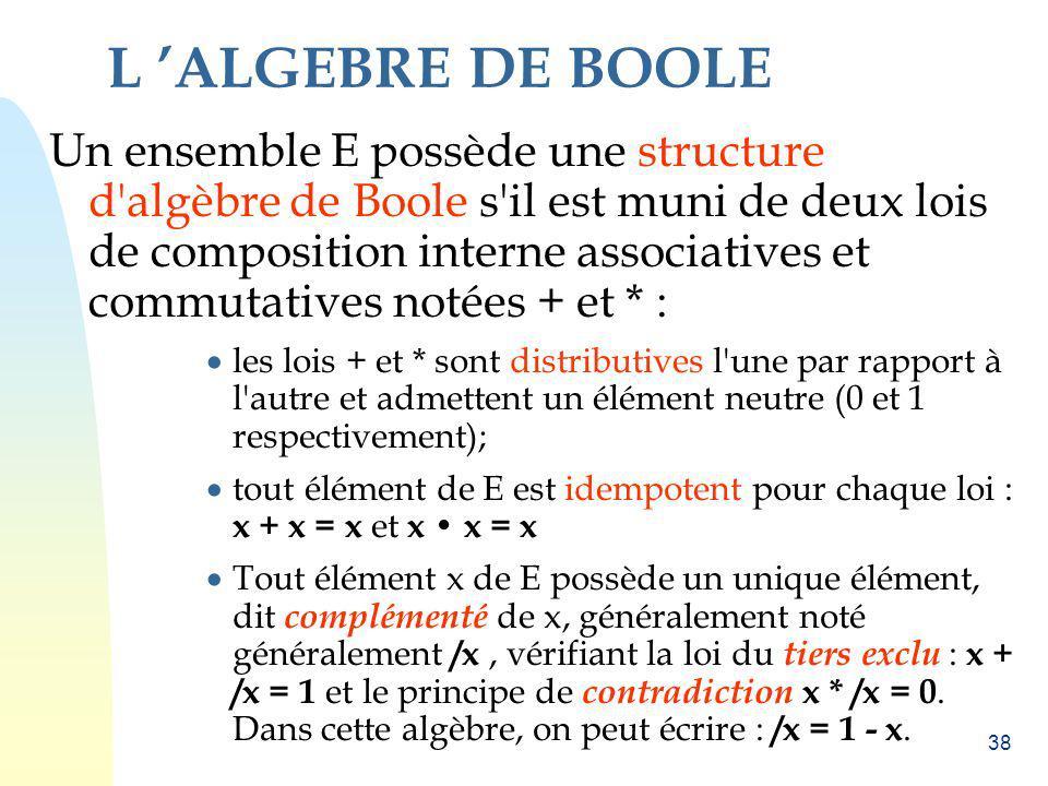 38 L ALGEBRE DE BOOLE Un ensemble E possède une structure d'algèbre de Boole s'il est muni de deux lois de composition interne associatives et commuta