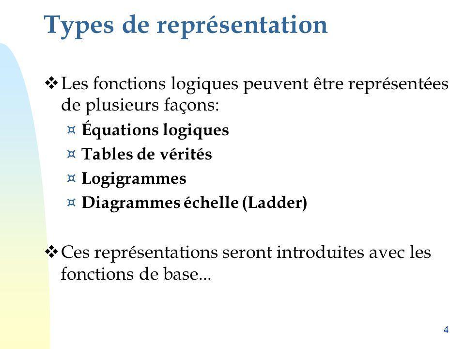 4 Types de représentation Les fonctions logiques peuvent être représentées de plusieurs façons: ¤ Équations logiques ¤ Tables de vérités ¤ Logigrammes