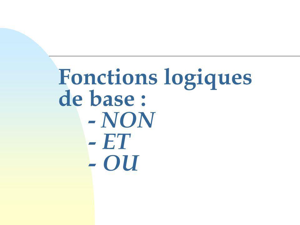 16 Fonctions de 2 variables Il existe 16 fonctions logiques possibles ayant 2 variables.