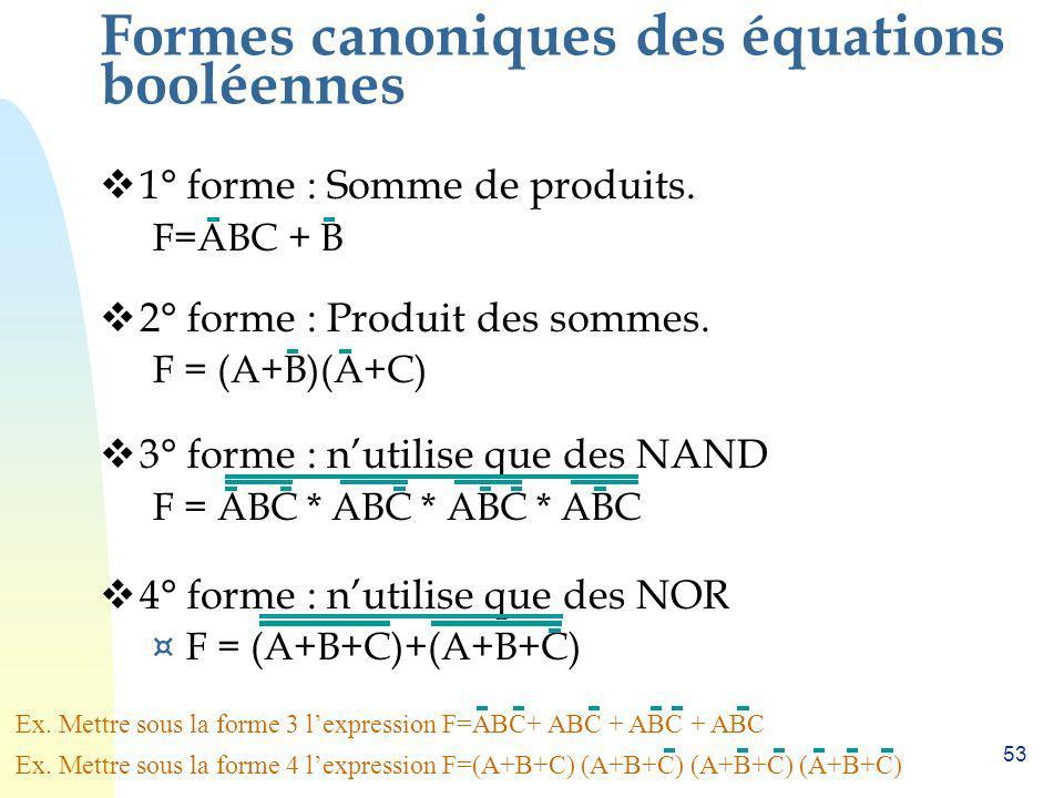 53 Formes canoniques des équations booléennes 1° forme : Somme de produits. F=ABC + B 2° forme : Produit des sommes. F = (A+B)(A+C) 3° forme : nutilis