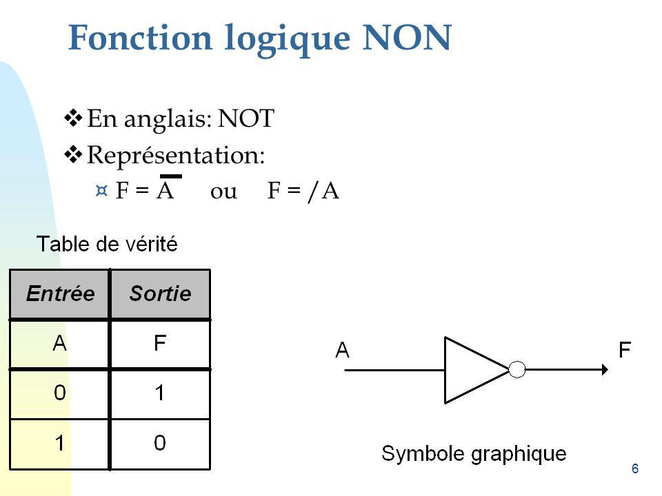6 Fonction logique NON En anglais: NOT Représentation: ¤ F = A ou F = /A