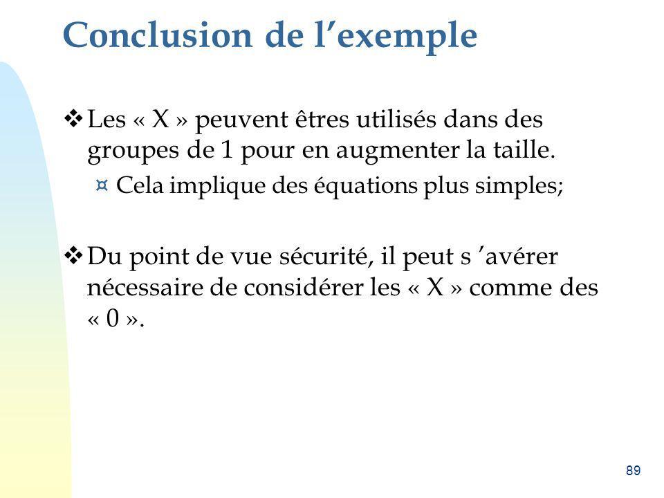 89 Conclusion de lexemple Les « X » peuvent êtres utilisés dans des groupes de 1 pour en augmenter la taille. ¤ Cela implique des équations plus simpl