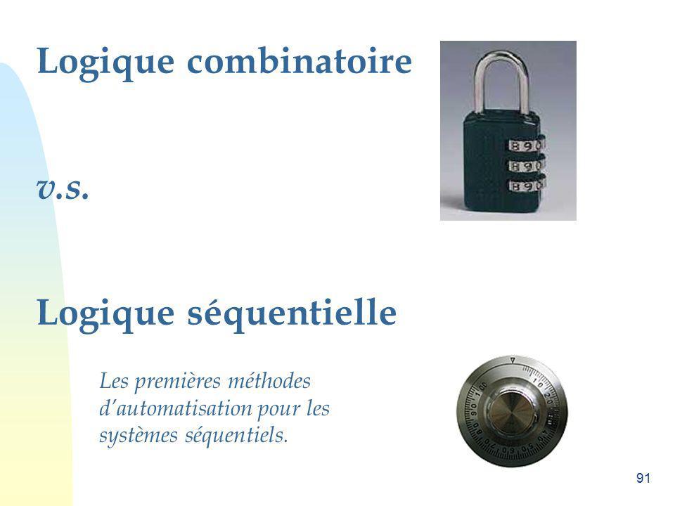 91 Logique combinatoire v.s. Logique séquentielle Les premières méthodes dautomatisation pour les systèmes séquentiels.