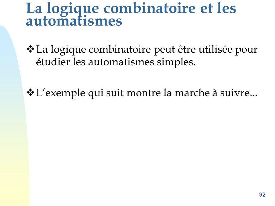 92 La logique combinatoire et les automatismes La logique combinatoire peut être utilisée pour étudier les automatismes simples. Lexemple qui suit mon