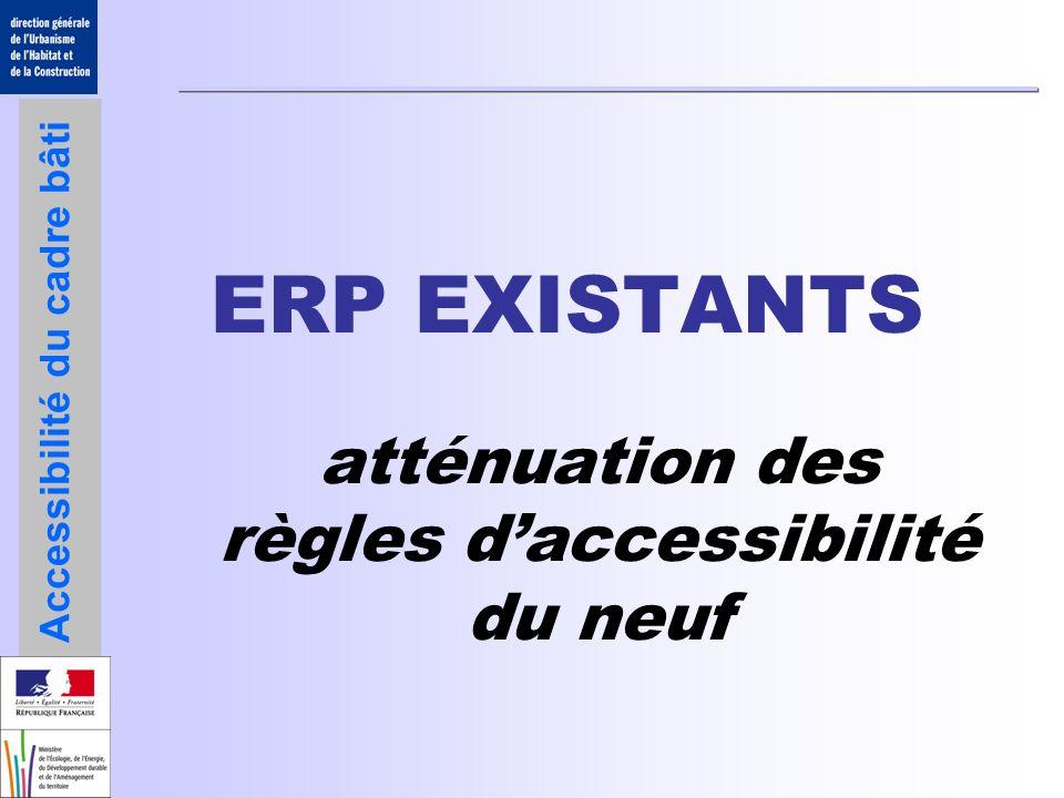 Accessibilité du cadre bâti Adaptations mineures / Portes, portiques et sas portes de 0,80 mPortes de 0,90 mPortes des chambres non adaptées dhôtels ou dERP avec locaux à sommeil portes de 0,80 mPortes de 0,90 m Locaux 100 personnes rien 0,40 m Éloignement des poignées de portes ERP-IOP existants