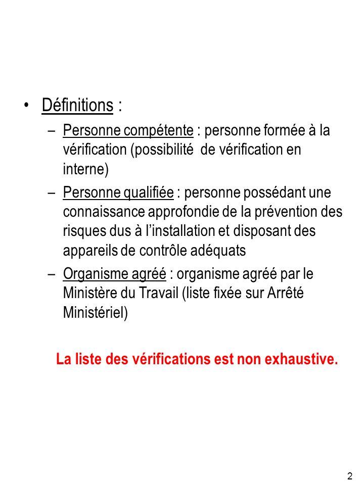 2 Définitions : –Personne compétente : personne formée à la vérification (possibilité de vérification en interne) –Personne qualifiée : personne possé
