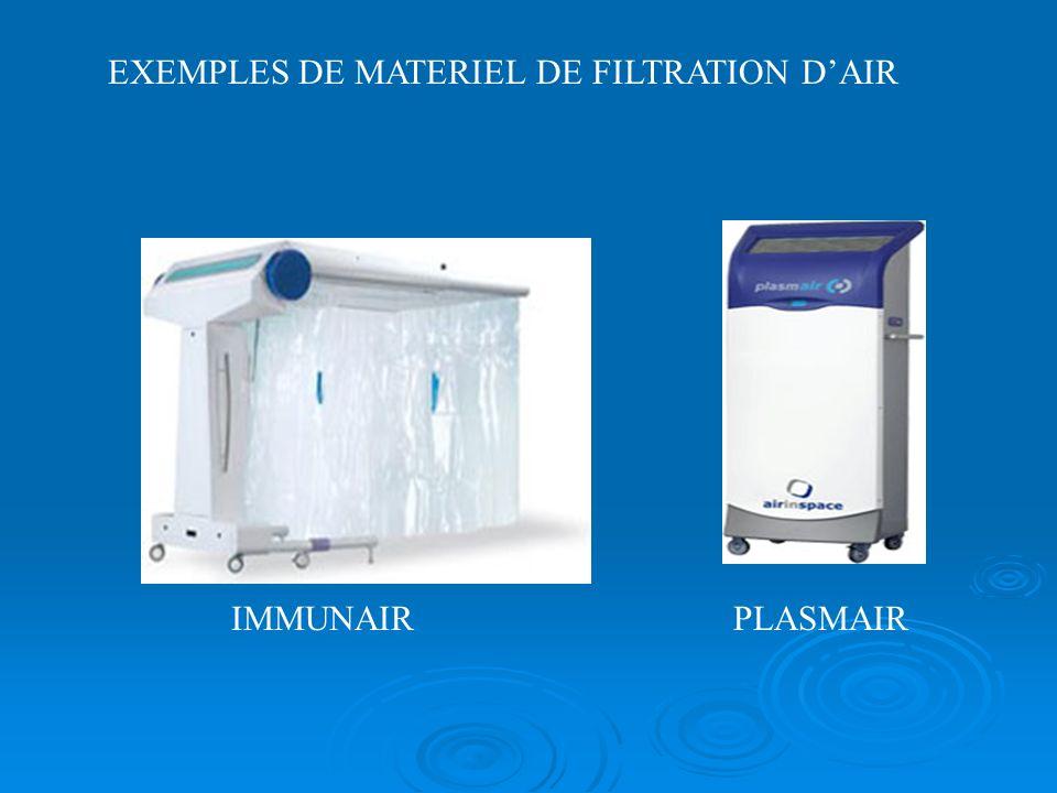 IMMUNAIRPLASMAIR EXEMPLES DE MATERIEL DE FILTRATION DAIR