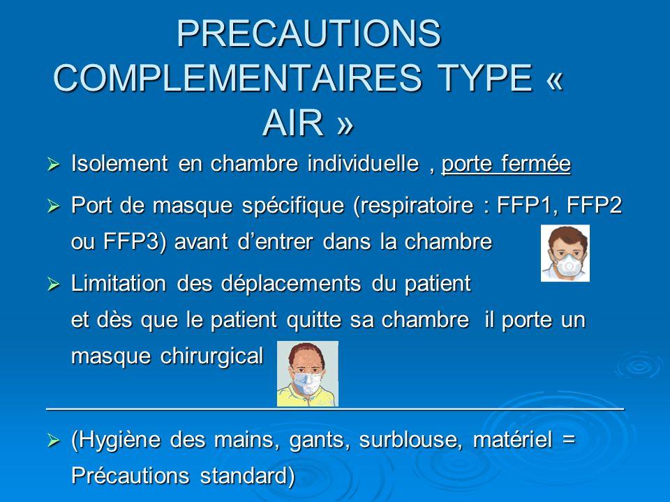 PRECAUTIONS COMPLEMENTAIRES TYPE « AIR » Isolement en chambre individuelle, porte fermée Isolement en chambre individuelle, porte fermée Port de masque spécifique (respiratoire : FFP1, FFP2 ou FFP3) avant dentrer dans la chambre Port de masque spécifique (respiratoire : FFP1, FFP2 ou FFP3) avant dentrer dans la chambre Limitation des déplacements du patient et dès que le patient quitte sa chambre il porte un masque chirurgical Limitation des déplacements du patient et dès que le patient quitte sa chambre il porte un masque chirurgical_____________________________________________ (Hygiène des mains, gants, surblouse, matériel = Précautions standard) (Hygiène des mains, gants, surblouse, matériel = Précautions standard)