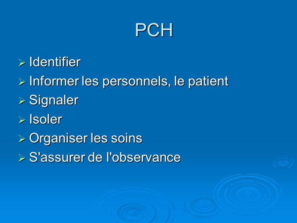 PCH Identifier Identifier Informer les personnels, le patient Informer les personnels, le patient Signaler Signaler Isoler Isoler Organiser les soins Organiser les soins S assurer de l observance S assurer de l observance