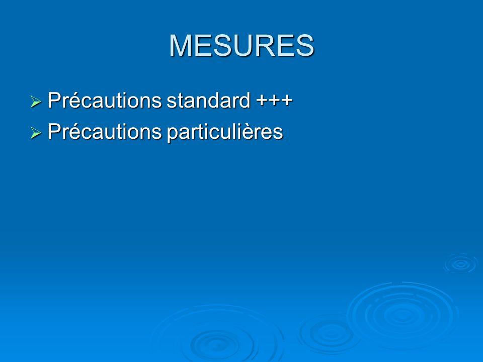 MESURES Précautions standard +++ Précautions standard +++ Précautions particulières Précautions particulières