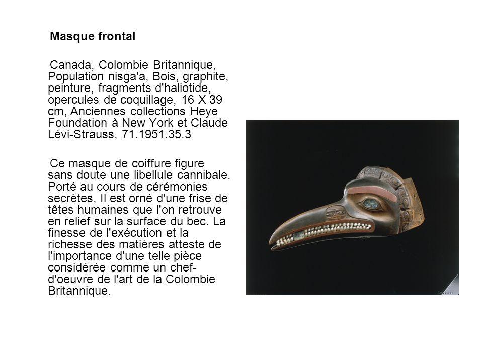 Masque frontal Canada, Colombie Britannique, Population nisga'a, Bois, graphite, peinture, fragments d'haliotide, opercules de coquillage, 16 X 39 cm,