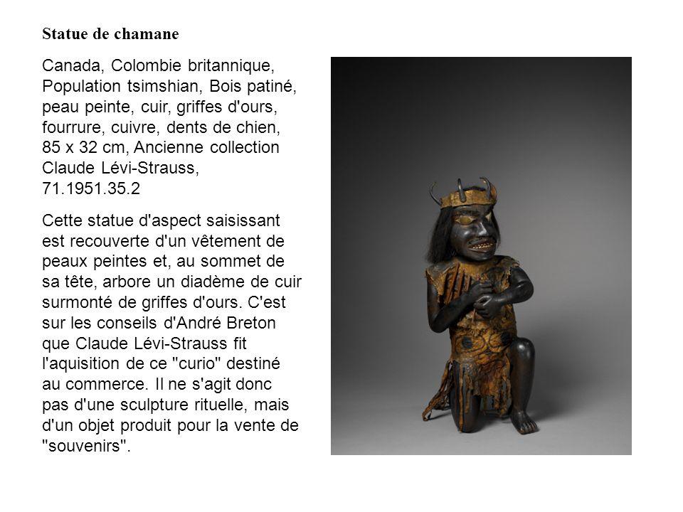 Statue de chamane Canada, Colombie britannique, Population tsimshian, Bois patiné, peau peinte, cuir, griffes d'ours, fourrure, cuivre, dents de chien