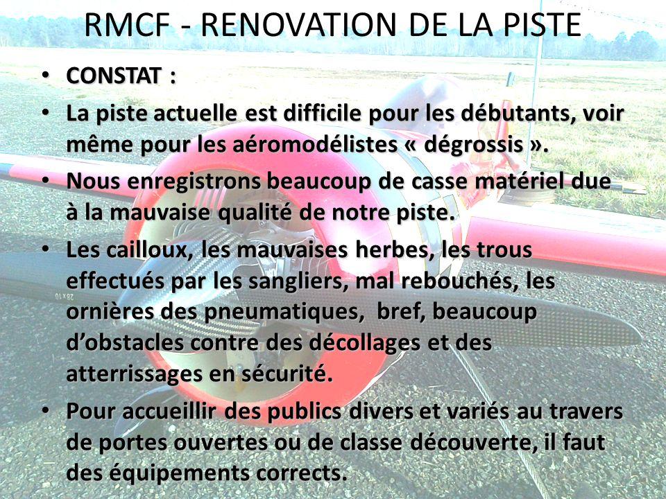 RMCF - RENOVATION DE LA PISTE CONSTAT : CONSTAT : La piste actuelle est difficile pour les débutants, voir même pour les aéromodélistes « dégrossis ».