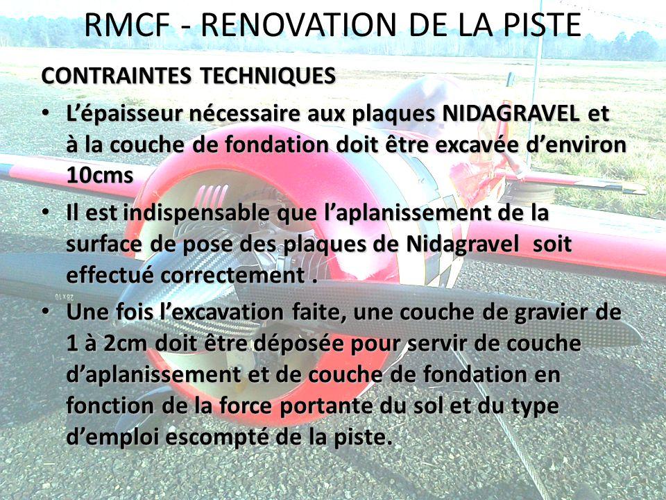 RMCF - RENOVATION DE LA PISTE CONTRAINTES TECHNIQUES Lépaisseur nécessaire aux plaques NIDAGRAVEL et à la couche de fondation doit être excavée denvir