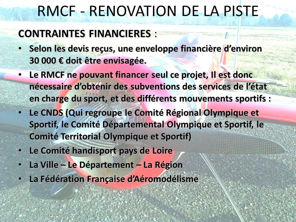 RMCF - RENOVATION DE LA PISTE CONTRAINTES FINANCIERES : Selon les devis reçus, une enveloppe financière denviron 30 000 doit être envisagée. Selon les