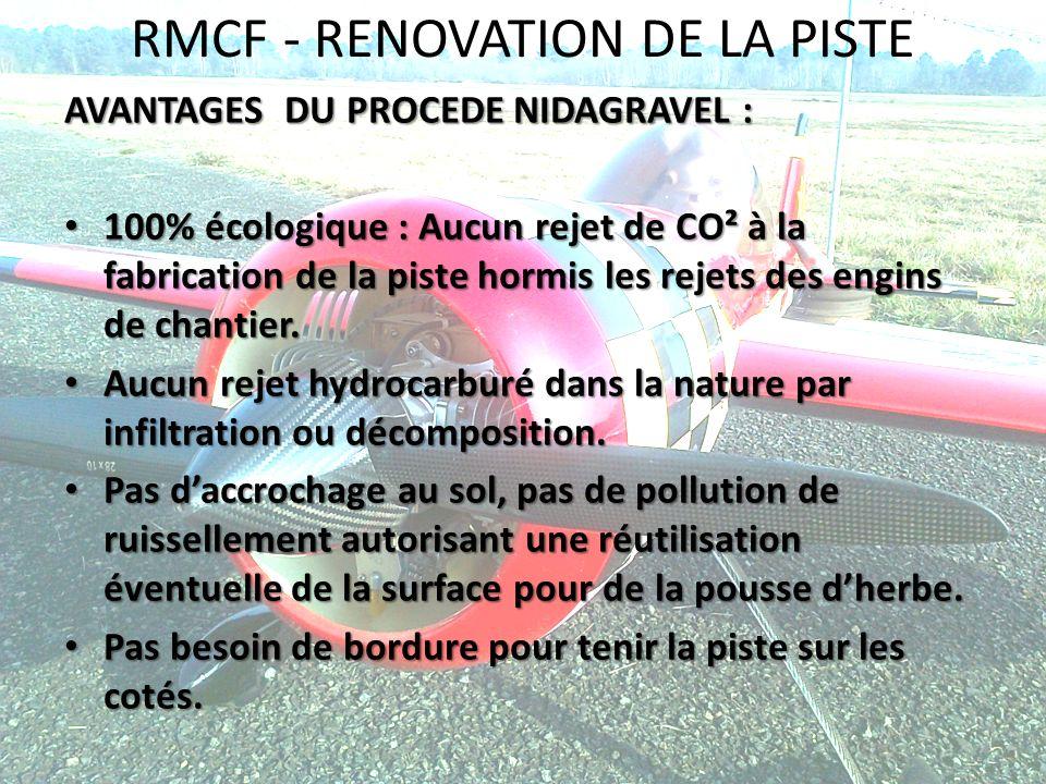RMCF - RENOVATION DE LA PISTE AVANTAGES DU PROCEDE NIDAGRAVEL : 100% écologique : Aucun rejet de CO² à la fabrication de la piste hormis les rejets de