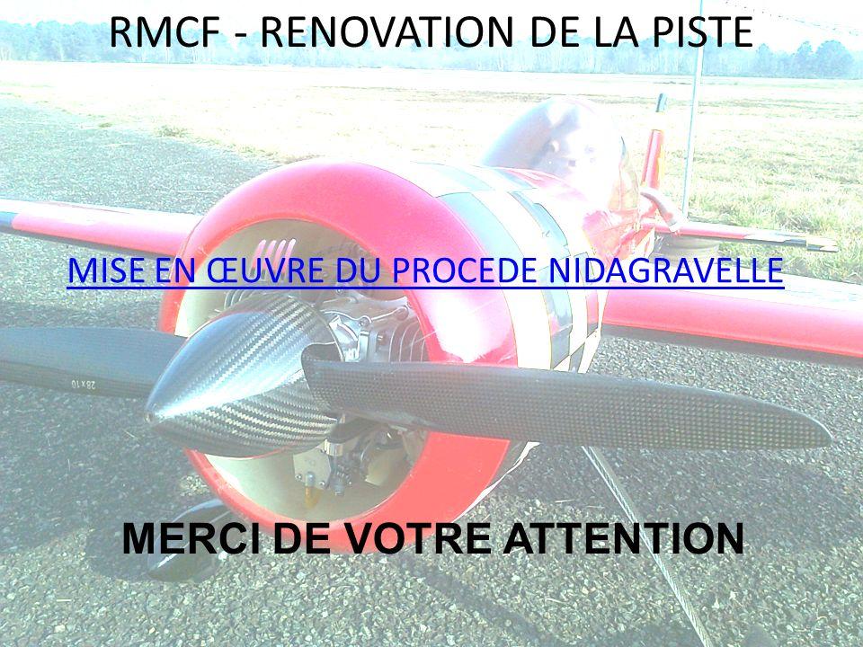 RMCF - RENOVATION DE LA PISTE MISE EN ŒUVRE DU PROCEDE NIDAGRAVELLE MERCI DE VOTRE ATTENTION