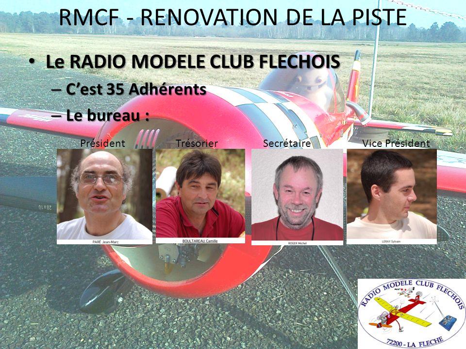 RMCF - RENOVATION DE LA PISTE Le RADIO MODELE CLUB FLECHOIS Le RADIO MODELE CLUB FLECHOIS – Cest 35 Adhérents – Le bureau : Président Trésorier Secrét