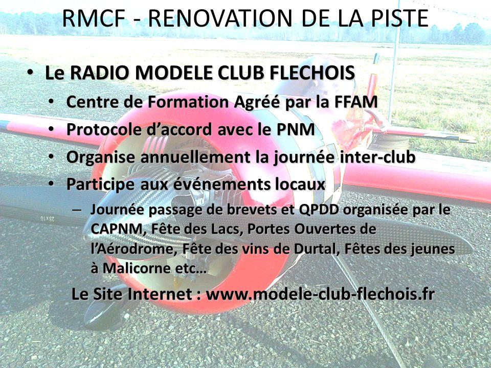 RMCF - RENOVATION DE LA PISTE Le RADIO MODELE CLUB FLECHOIS Le RADIO MODELE CLUB FLECHOIS Centre de Formation Agréé par la FFAM Centre de Formation Ag