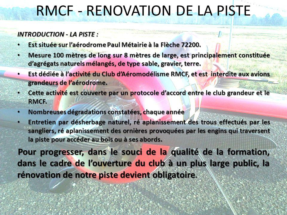 RMCF - RENOVATION DE LA PISTE INTRODUCTION - LA PISTE : Est située sur laérodrome Paul Métairie à la Flèche 72200. Est située sur laérodrome Paul Méta