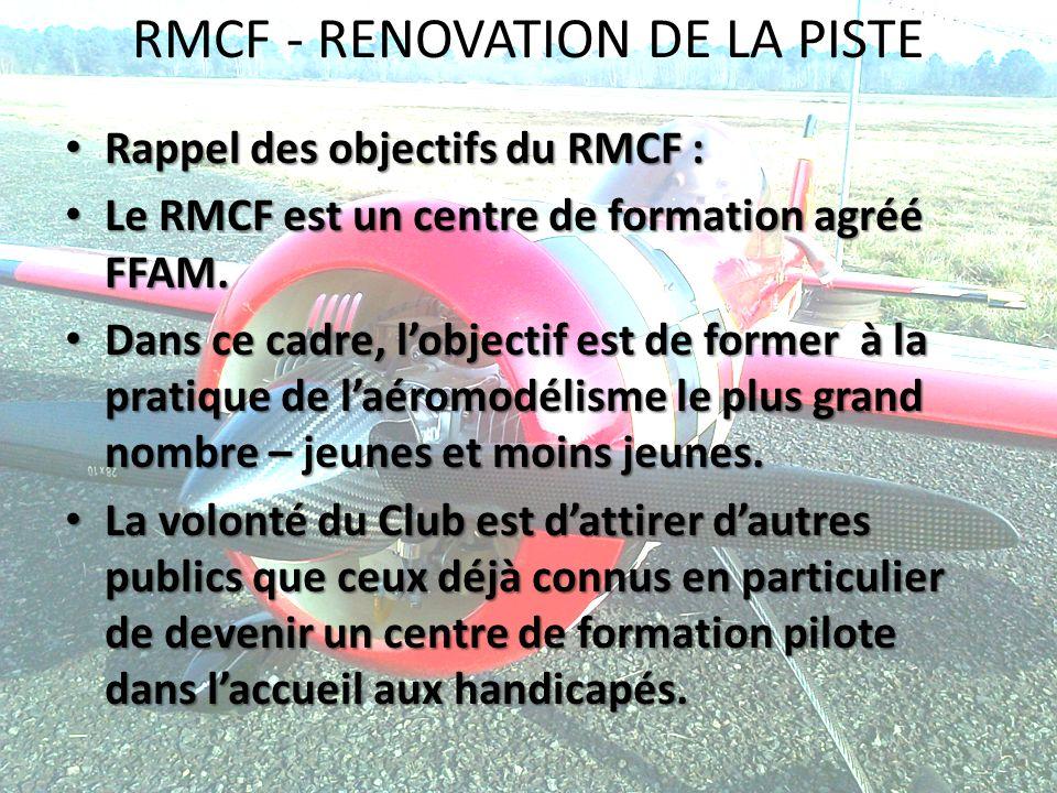 RMCF - RENOVATION DE LA PISTE Rappel des objectifs du RMCF : Rappel des objectifs du RMCF : Le RMCF est un centre de formation agréé FFAM. Le RMCF est