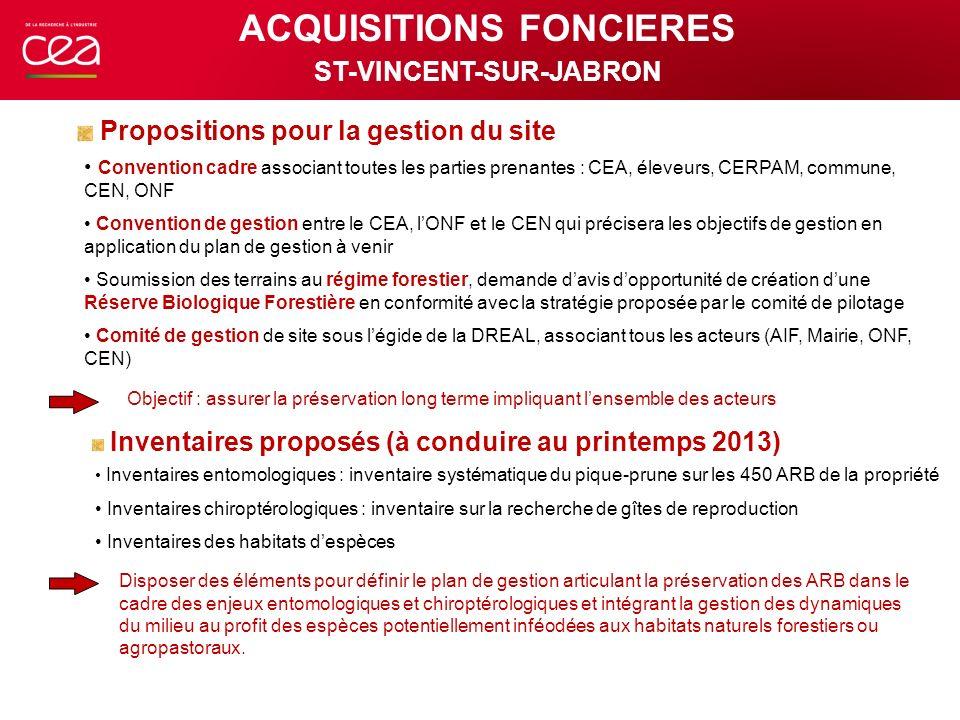 Convention cadre associant toutes les parties prenantes : CEA, éleveurs, CERPAM, commune, CEN, ONF Convention de gestion entre le CEA, lONF et le CEN