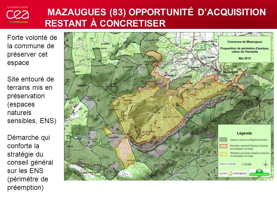 Forte volonté de la commune de préserver cet espace Site entouré de terrains mis en préservation (espaces naturels sensibles, ENS) Démarche qui confor