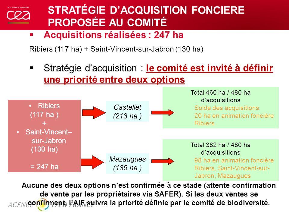 STRATÉGIE DACQUISITION FONCIERE PROPOSÉE AU COMITÉ Acquisitions réalisées : 247 ha Ribiers (117 ha) + Saint-Vincent-sur-Jabron (130 ha) Stratégie dacq
