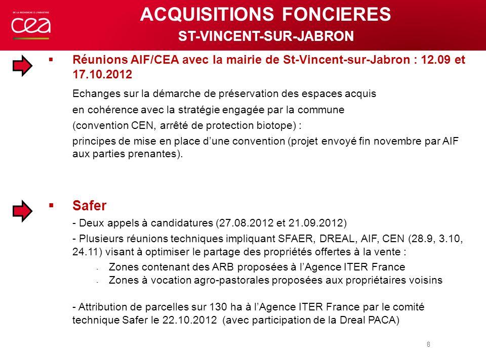 Réunions AIF/CEA avec la mairie de St-Vincent-sur-Jabron : 12.09 et 17.10.2012 Echanges sur la démarche de préservation des espaces acquis en cohérenc
