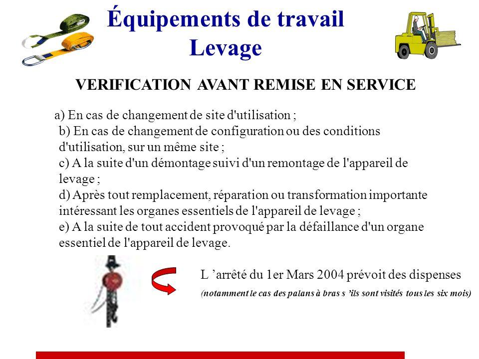 Équipements de travail Levage VERIFICATION AVANT MISE OU REMISE EN SERVICE Selon le cas, les vérifications avant mise ou remise en service comprennent