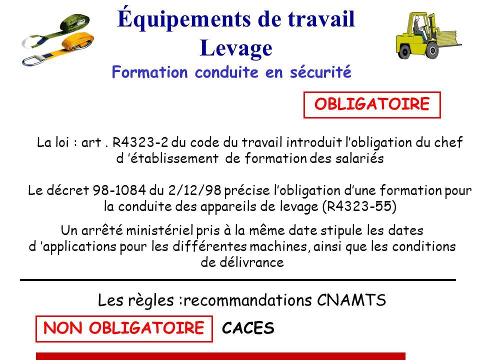 Équipements de travail Levage LE CARNET DE MAINTENANCE Arrêté du 2 mars 2004 Obligatoire au 2 avril 2005 « Le chef d établissement doit établir et ten