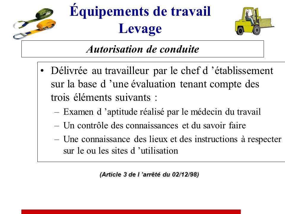 Formation à la conduite des équipements de travail mobiles Obligation réglementaire commune –Art. R.4323-55 du code du travail –Arrêté d application d