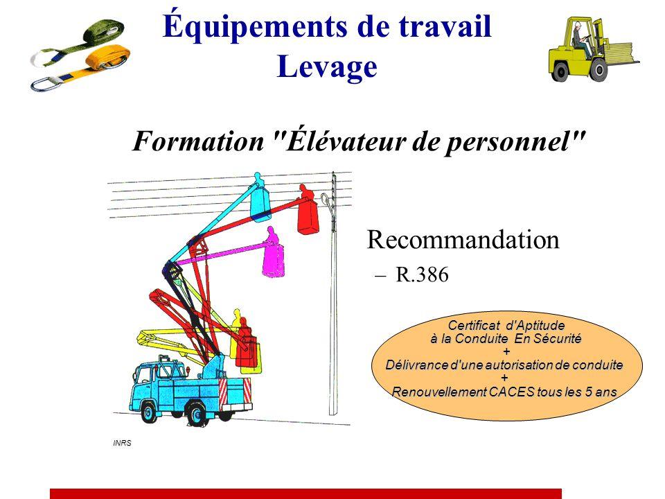 Recommandation R.389 Catégorie 1 Transpalettes à conducteur porté et préparateur de commande au sol (levée 1 m) Catégorie 2 Chariots tracteurs et à pl