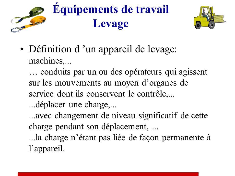 Équipements de travail Levage Définition d un appareil de levage: machines,...