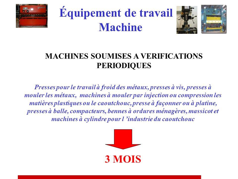MACHINES SOUMISES A VERIFICATIONS PERIODIQUES Réglementation de référence A.M. DU 5/03/93 A.M. DU 24/06/93 Équipement de travail Machine