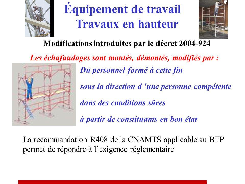 Modifications introduites par le décret 2004-924 Suppression de la règle dite des « 3m » Plate-forme de travail ergonomique avec garde corps, plinthe,