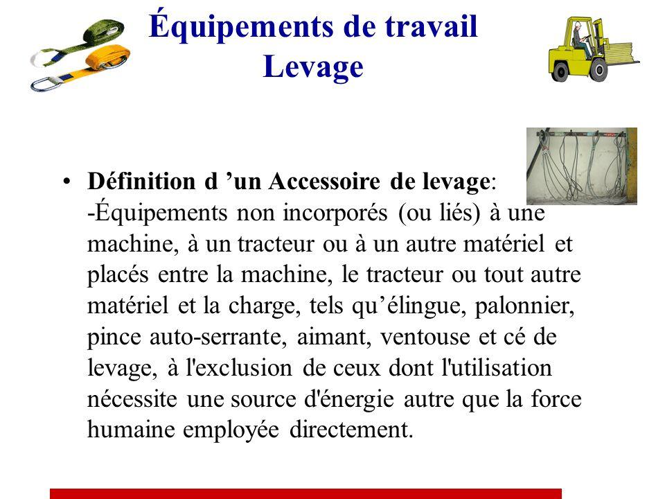 Équipements de travail Levage Nest pas considéré comme significatif un changement de niveau correspondant à ce qui est juste nécessaire pour déplacer