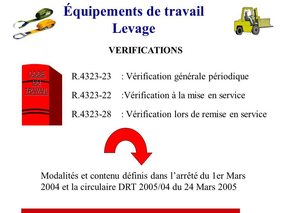 Équipements de travail Levage VERIFICATIONS CODE CODEDUTRAVAIL R.4323-23 : Vérification générale périodique R.4323-22 :Vérification à la mise en service R.4323-28 : Vérification lors de remise en service Modalités et contenu définis dans larrêté du 1er Mars 2004 et la circulaire DRT 2005/04 du 24 Mars 2005