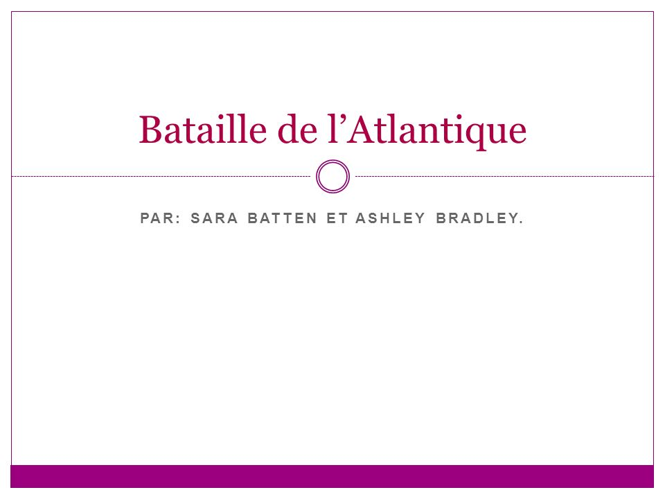 PAR: SARA BATTEN ET ASHLEY BRADLEY. Bataille de lAtlantique