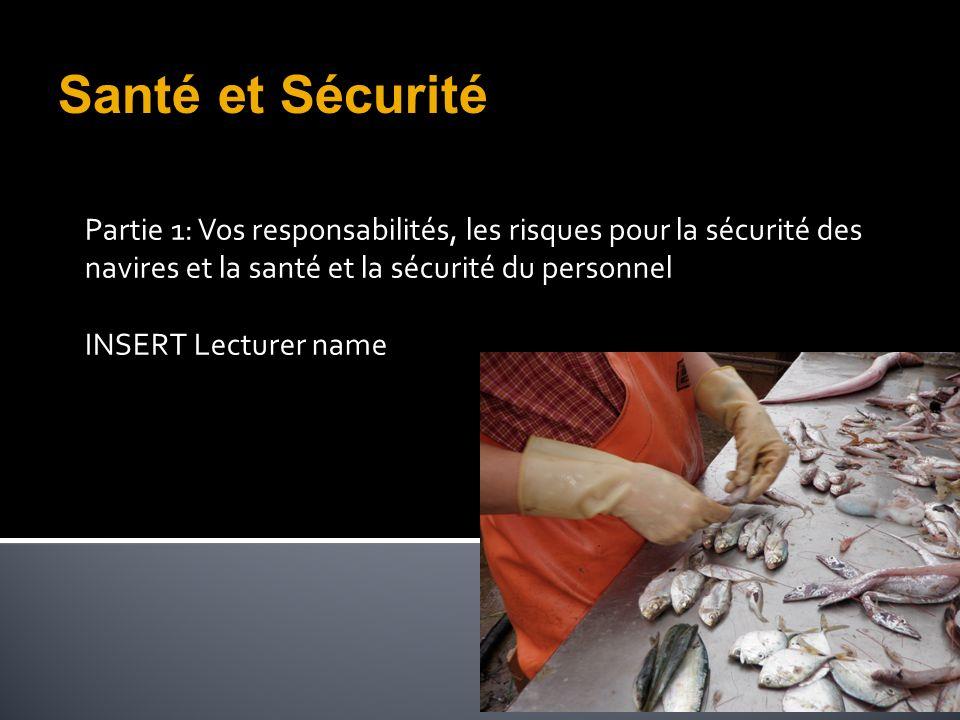 Partie 1: Vos responsabilités, les risques pour la sécurité des navires et la santé et la sécurité du personnel INSERT Lecturer name Santé et Sécurité